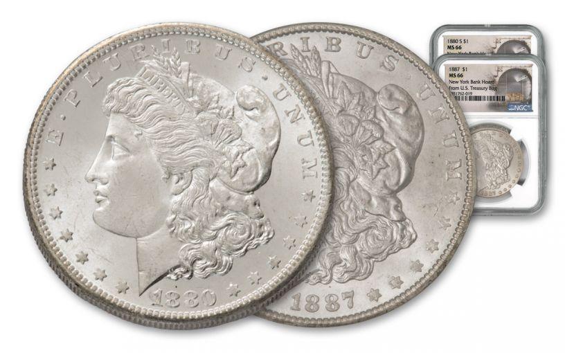1880-S & 1887-P Morgan Silver Dollar New York Bank Hoard Treasury 2-Piece Set NGC MS66