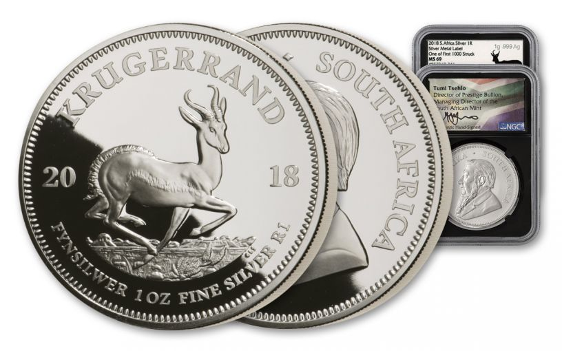 2018 South Africa 1-oz Silver Krugerrand NGC MS69 One of First 1,000 Struck - Silver Medal Tumi Signed Label