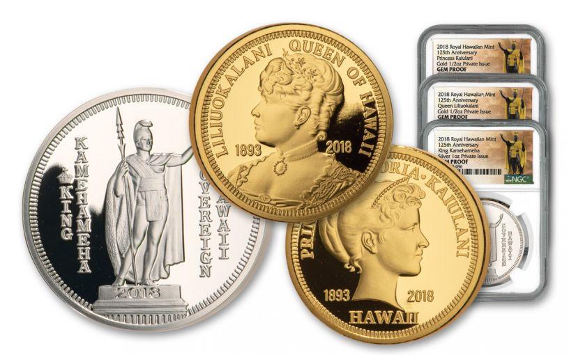2018 Royal Hawaiian Mint Gold & Silver 3-Piece Set NGC Gem Proof Kingdom of Hawaii 125th Anniversary