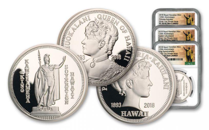 2018 Royal Hawaiian Mint 1-oz Silver 3-Piece Set NGC PF70UC Kingdom of Hawaii 125th Anniversary