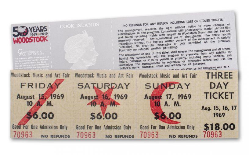2019 Cook Islands $1 Silver Woodstock 1969 Ticket Proof-Like
