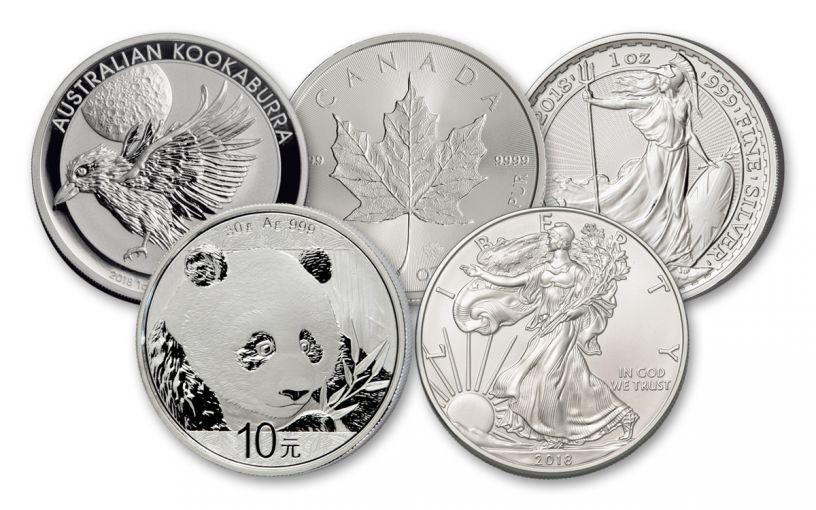 5-Piece 2018 1-Ounce Silver World Coin Starter Pack BU