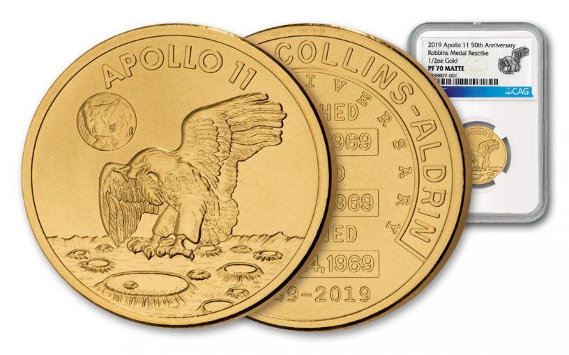 Apollo 11 Robbins Medal 1/2-oz Gold NGC PF70 Matte - 50th Anniversary Commemorative