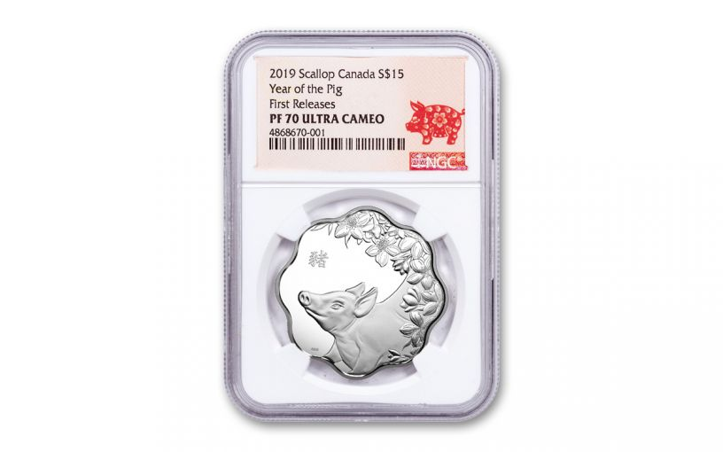 22019 Canada $15 Silver Lunar Lotus Year of the Pig NGC PF70UC First Releases