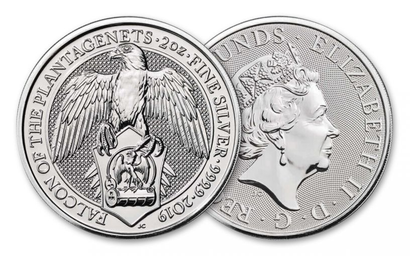 2019 Great Britain 2-oz Silver Queen's Beasts Falcon of the Plantagenets BU