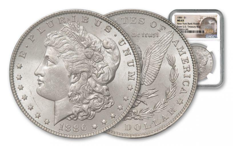 1886-P Morgan Silver Dollar New York Bank Hoard Treasury NGC MS63 20-Piece Roll