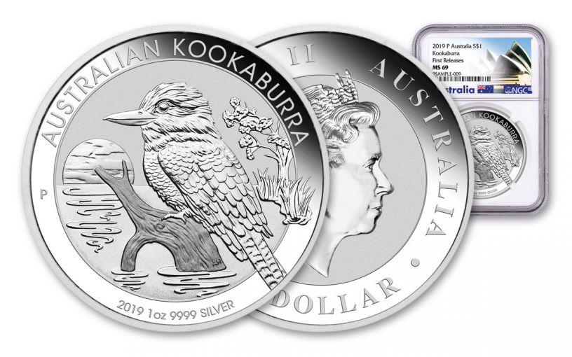 2019 Australia 1 Dollar 1-oz Silver Kookaburra NGC MS69 First Releases