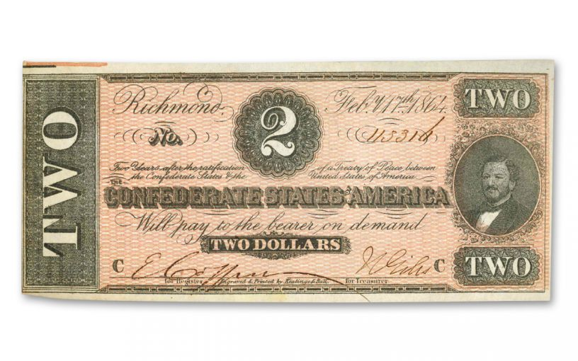 1864 $2 Confederate Currency Paper Note AU