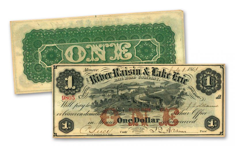 1863 $1 River Raisin and Lake Erie Railroad Obsolete Currency Note Circulated