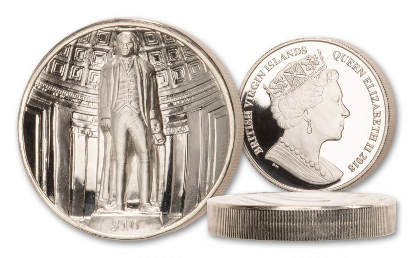 2018 British Virgin Islands $10 2-oz Silver Jefferson Ultra High Relief Proof