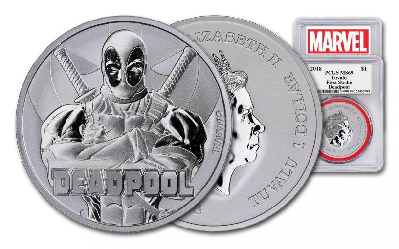 2018 Tuvalo $1 1-oz Silver Deadpool PCGS MS69 First Strike - Marvel Label