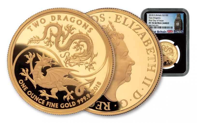 2018 Great Britain 1-oz Gold Mythical Two Dragons NGC PF70UC First Day of Issue