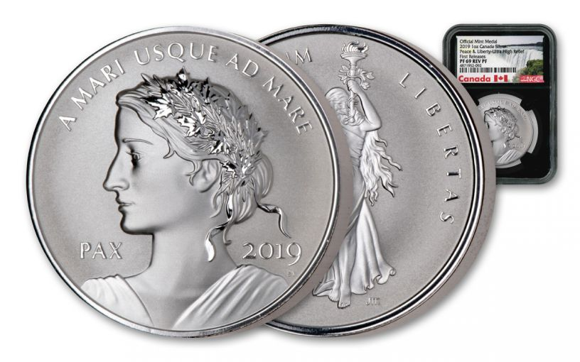 2019 Canada 1-oz Silver Peace & Liberty Medal Ultra High Relief Reverse NGC PF69 First Releases - Black Core