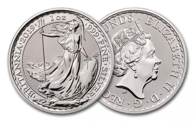 2019 Great Britain £2 1-oz Silver Britannia Uncirculated