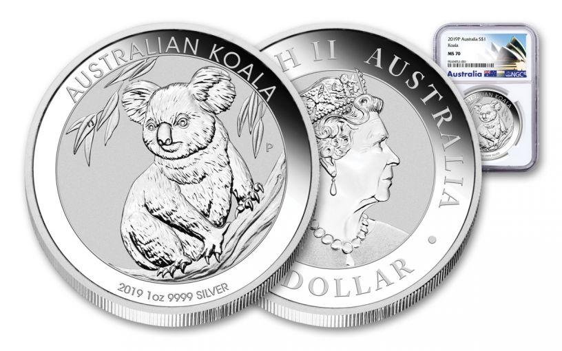 2019 Australia $1 1-oz Silver Koala NGC MS70