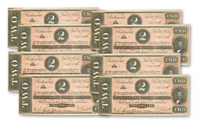 1864 $2 Confederate Currency Paper Note 8-Piece Set SN 113571–113578 AU