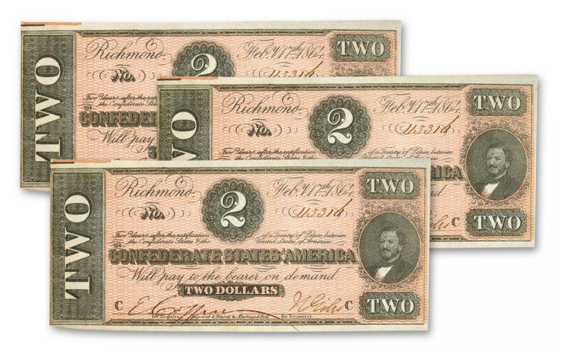 1864 $2 Confederate Currency Paper Note 3-Piece Set SN 113329–113331 AU