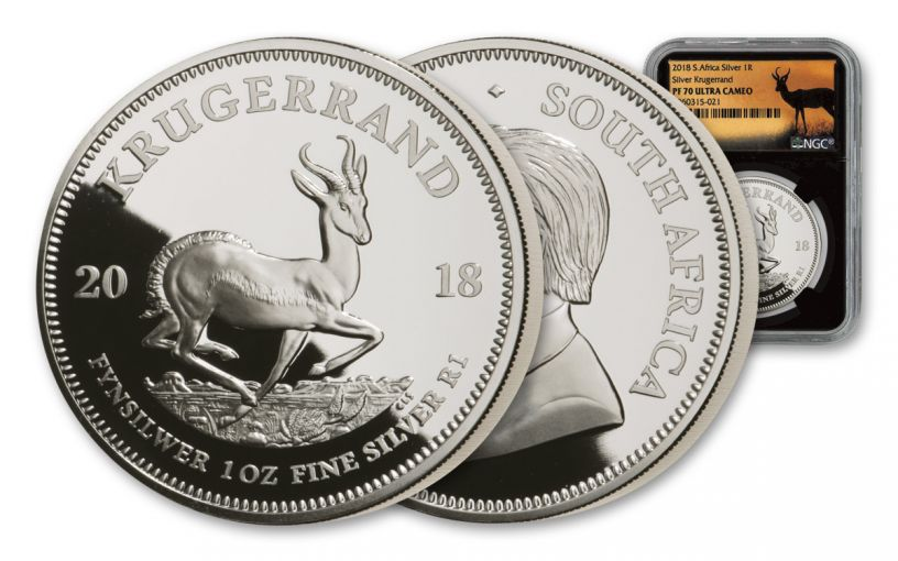 2018 South Africa 1-oz Silver Krugerrand NGC PF70UC - Black Core, Springbok Label