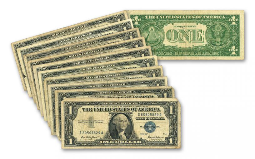 1957 Silver Dollar Certificate Paper Currency 10-Pack Set VF
