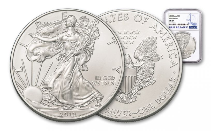 2019 $1 1-oz Silver American Eagle NGC MS69 First Releases