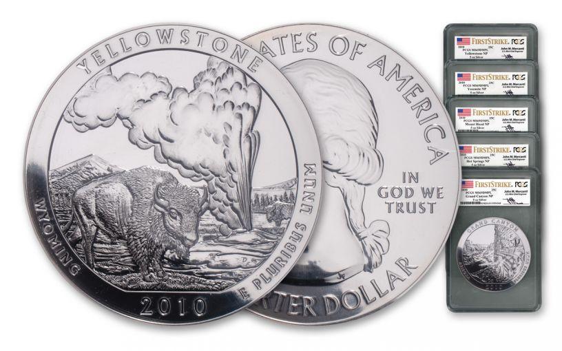 2010 5-oz Silver America the Beautiful Quarter 5-Piece Set PCGS MS69 DMPL First Strike - Mercanti Signed Label