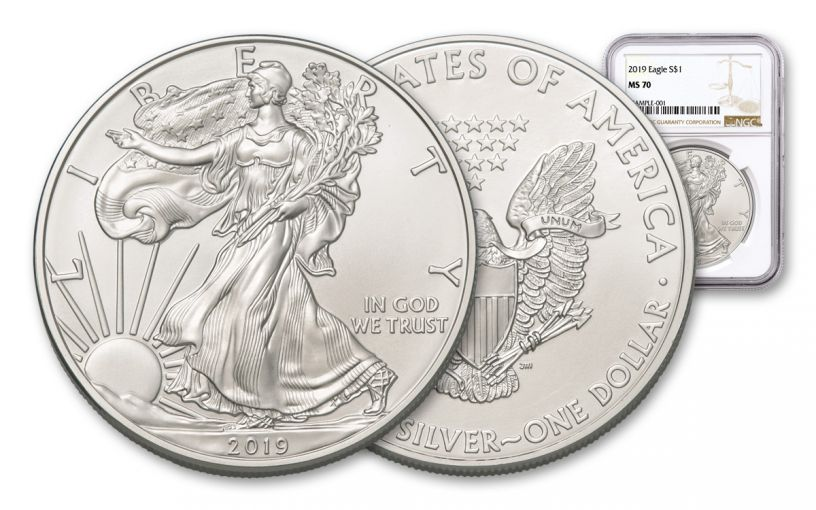 2019 $1 1-oz Silver American Eagle NGC MS70 - Brown Label