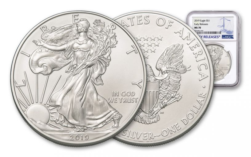 2019 $1 1-oz Silver American Eagle NGC MS70 Early Releases