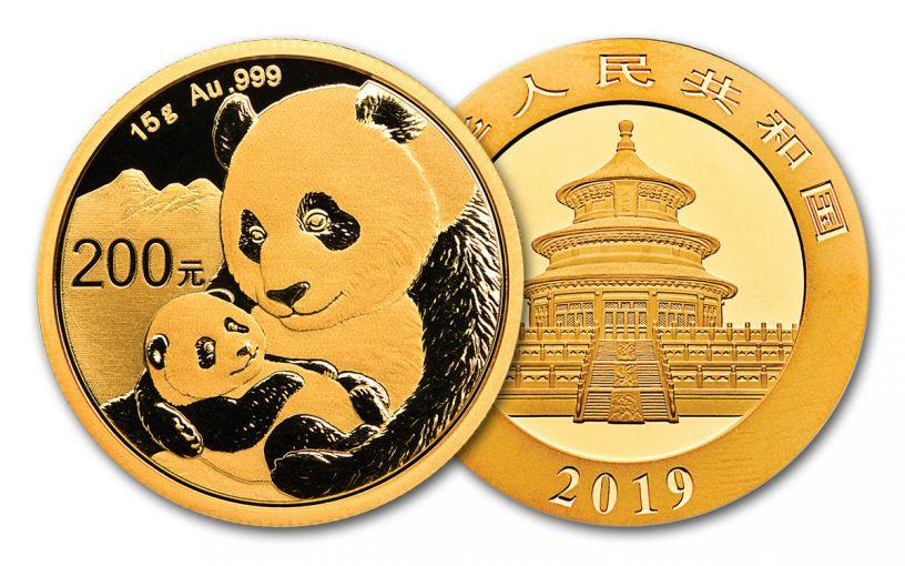 2019 China 15-Gram Gold Panda BU