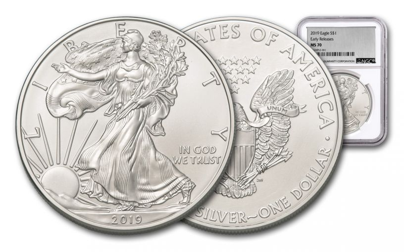2019 $1 1-oz Silver American Eagle NGC MS70 Early Releases - Silver Foil Label