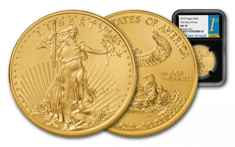 2019 $50 1-oz Gold American Eagle NGC MS70 First Day of Issue - Black Core