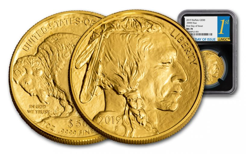 2019 $50 1-oz Gold Buffalo NGC MS70 First Day of Issue - Black Core
