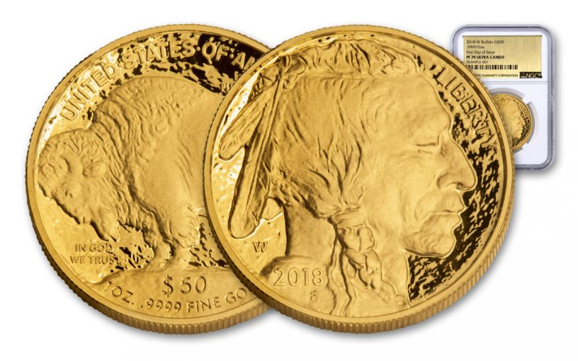 2018-W $50 1-oz Gold Buffalo NGC PF70UC First Day of Issue - Gold Foil Label
