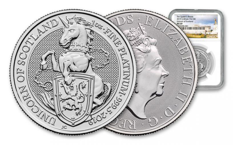 2019 Great Britain 1-oz Platinum Queen's Beasts Unicorn of Scotland NGC MS69