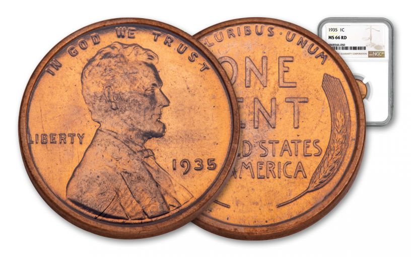 1935-P One Cent Lincoln NGC MS66 Red