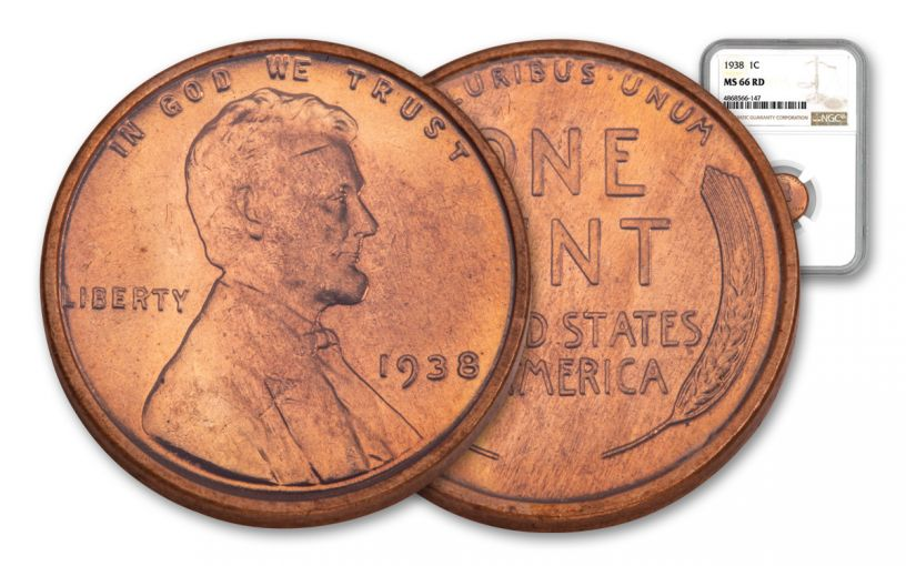 1938-P One Cent Lincoln NGC MS66 Red