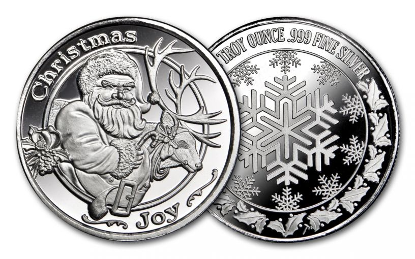 2018 Santa & Reindeer 1-oz Silver Christmas Round