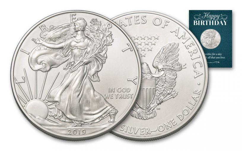 2019 $1 1-oz Silver American Eagle BU Birthday Traditional Card