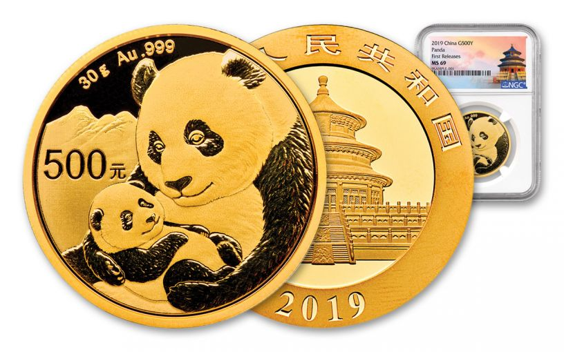 2019 China 30 Gram Gold Panda NGC MS69 First Releases - Temple Label