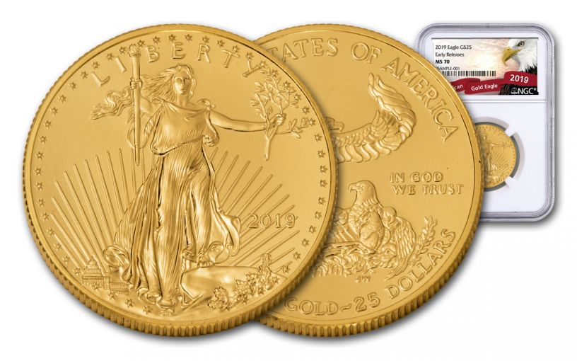2019 $25 1/2-oz Gold American Eagle NGC MS70 Early Releases - Eagle Label