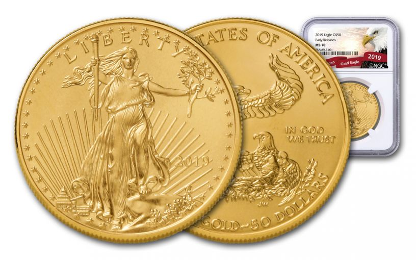 2019 $50 1-oz Gold American Eagle NGC MS70 Early Releases - Eagle Label