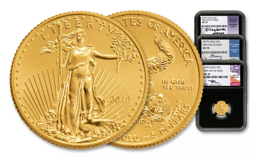 2019 $5 1/10th-oz Gold Eagle NGC MS70 First Day of Issue Mercanti/Jones/Moy Black Core 3-Coin Set