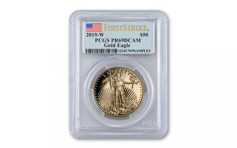 2019-W $50 1-oz Gold American Eagle PCGS PR69CAM First Strike - Flag Label