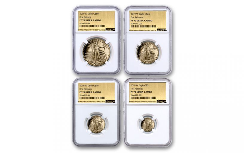 2019-W Gold American Eagle 4-Piece Set NGC PF70UC First Releases - Gold Foil Label