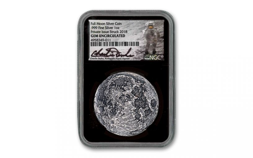 Shire Mint 1-oz Silver Supermoon Medal NGC Gem BU - Black Core, Charlie Duke Signed Label, Apollo 11 50th Anniversary