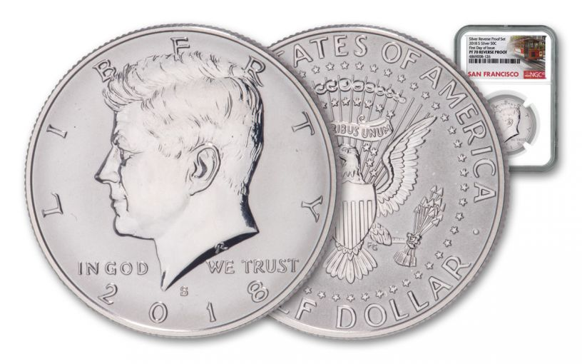 2018-S Kennedy Half Dollar Reverse Proof NGC PF70 First Day of Issue - Trolley Label