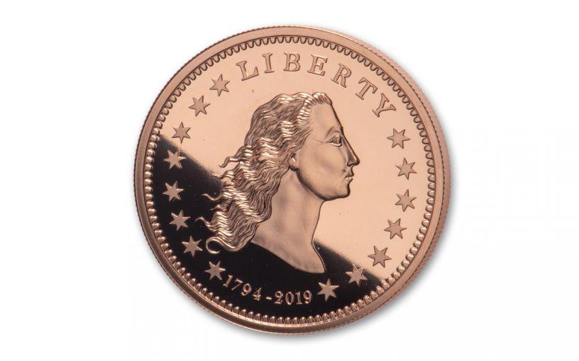 1794-2019 1-oz Copper America's First Silver Dollar Proof w/Smithsonian Label