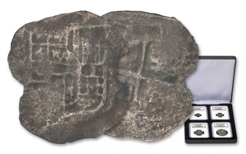 1556-1622 Spain Nuestra Señora Del Rosario Silver Reales 4-piece Set NGC Shipwreck Effect