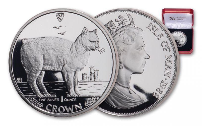 1988 Isle of Man 1-oz Silver Manx Cat Proof