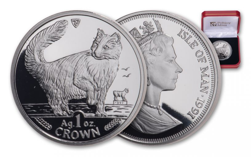 1991 Isle of Man 1-oz Silver Norwegian Cat Proof
