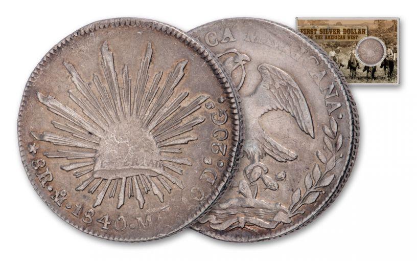 1837–1869 Mexico 8 Reales Cap and Ray F-VF